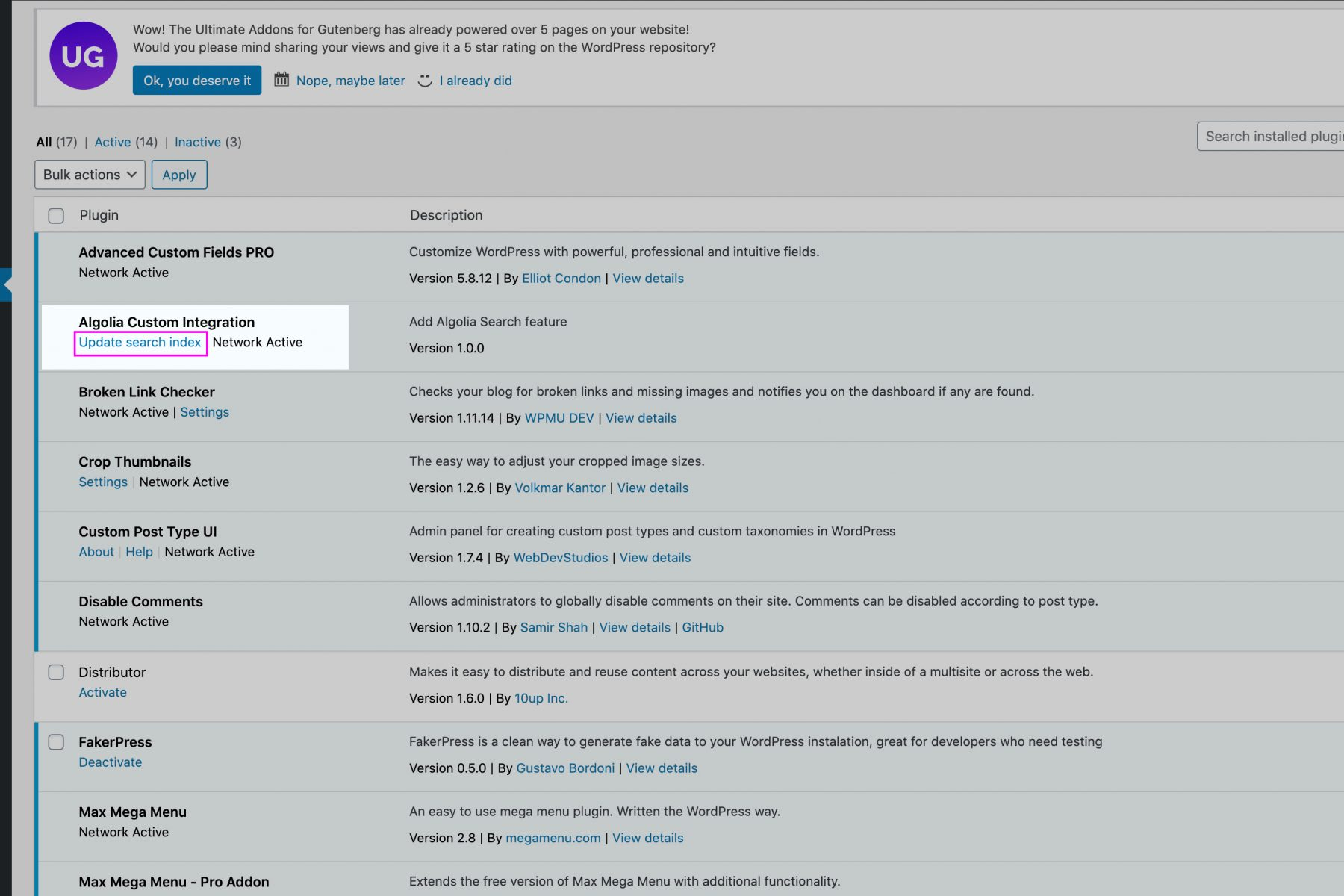 Screenshot of the WordPress backend of this site. Highlighting a button that the user can click to rebuild the search index.