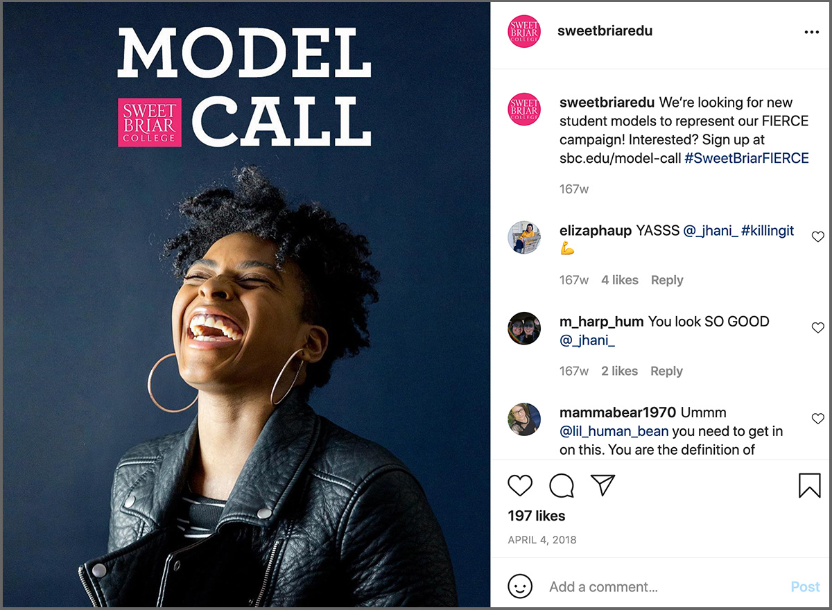 Instagram post from Sweet Briar asking for volunteer models. Subject is a black woman in a motorcycle jacket.