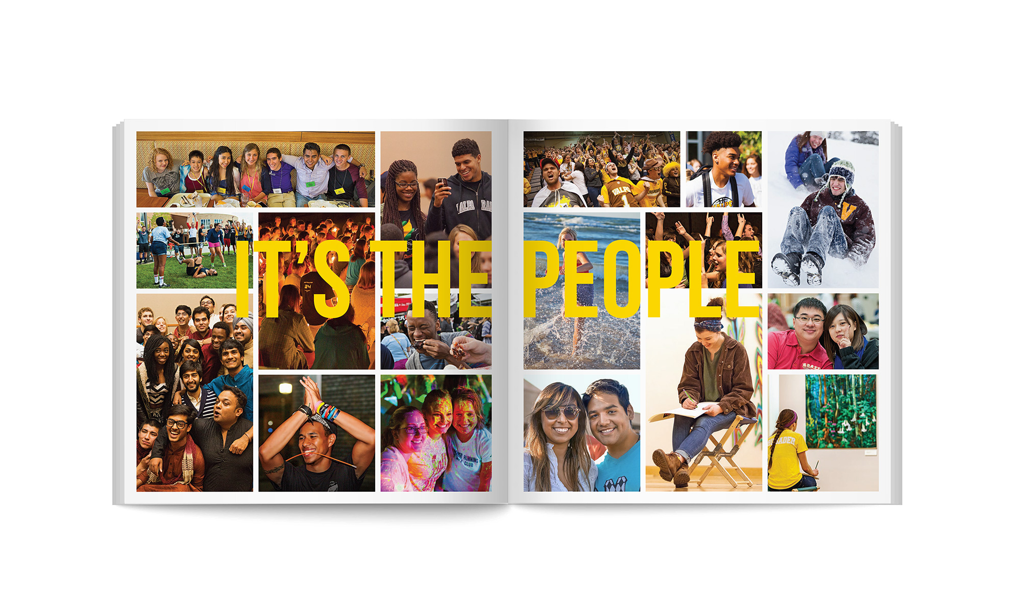 Brochure spread with text It's the people.