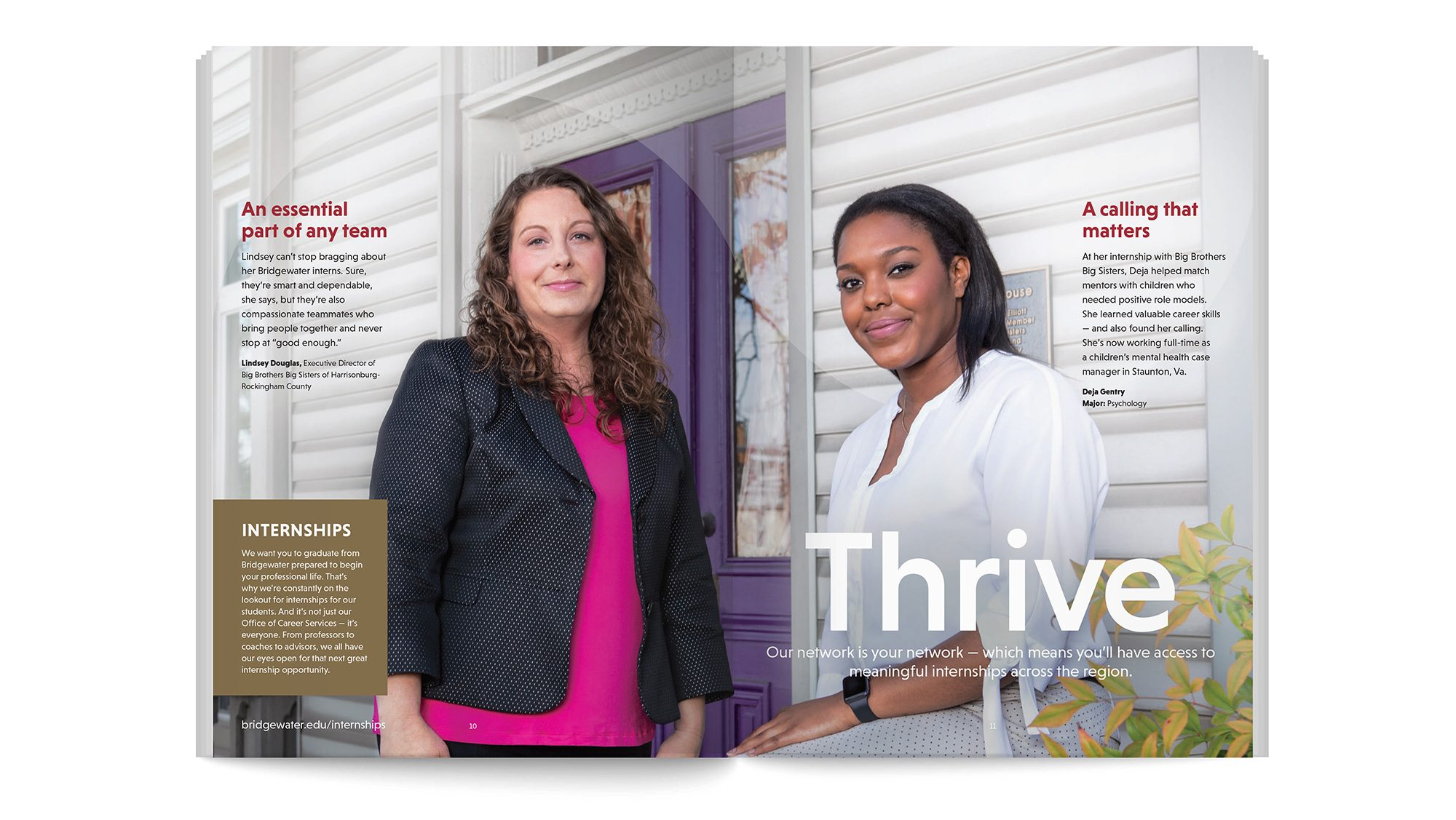 Brochure spread showing two students. Headline: Thrive.