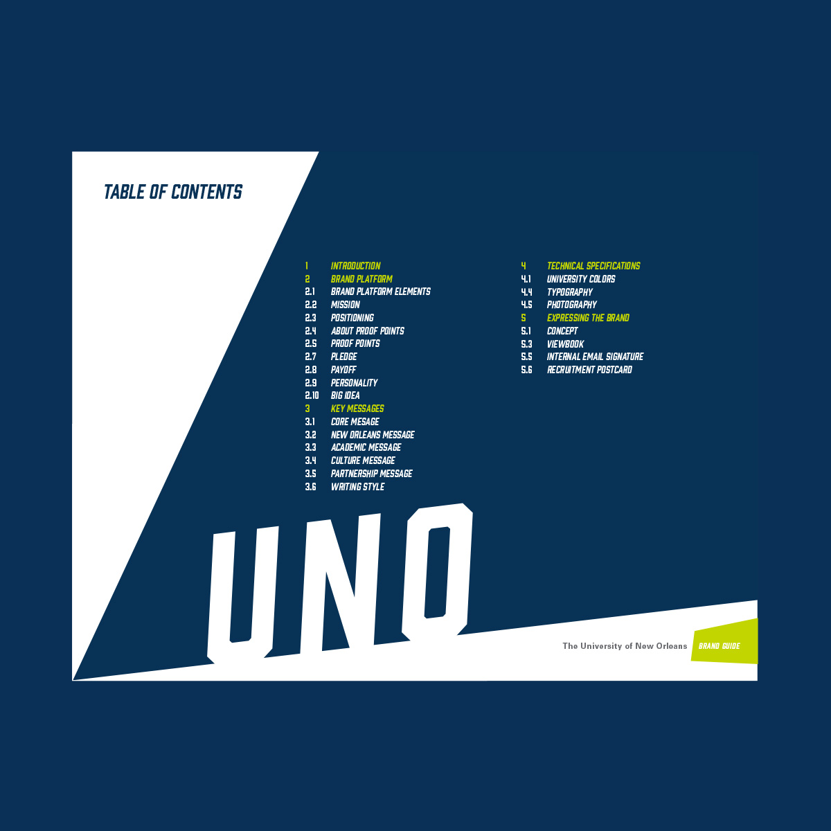 Table of contents of UNO brand guide.
