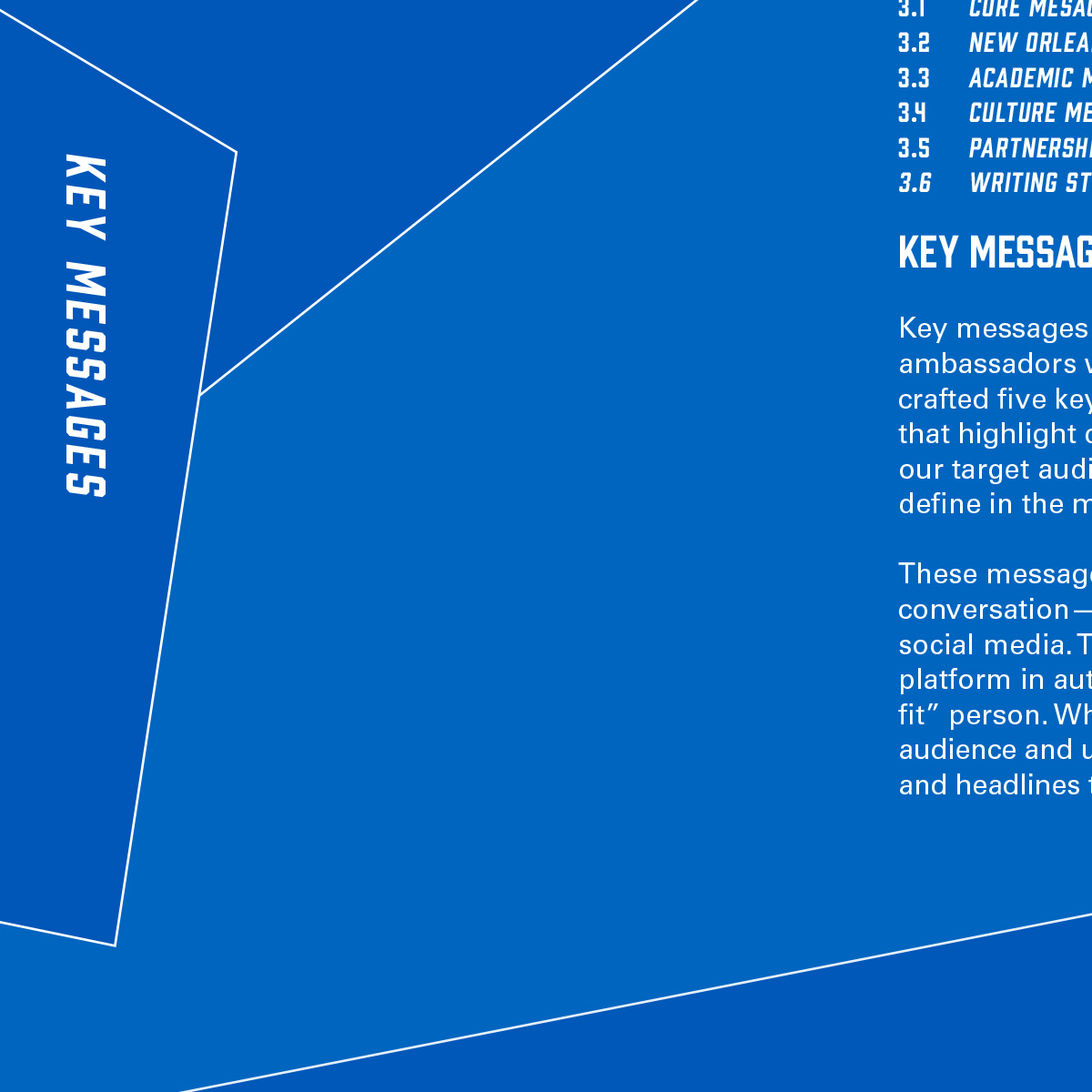 Cover page from brand guide. Image text: Key messages.