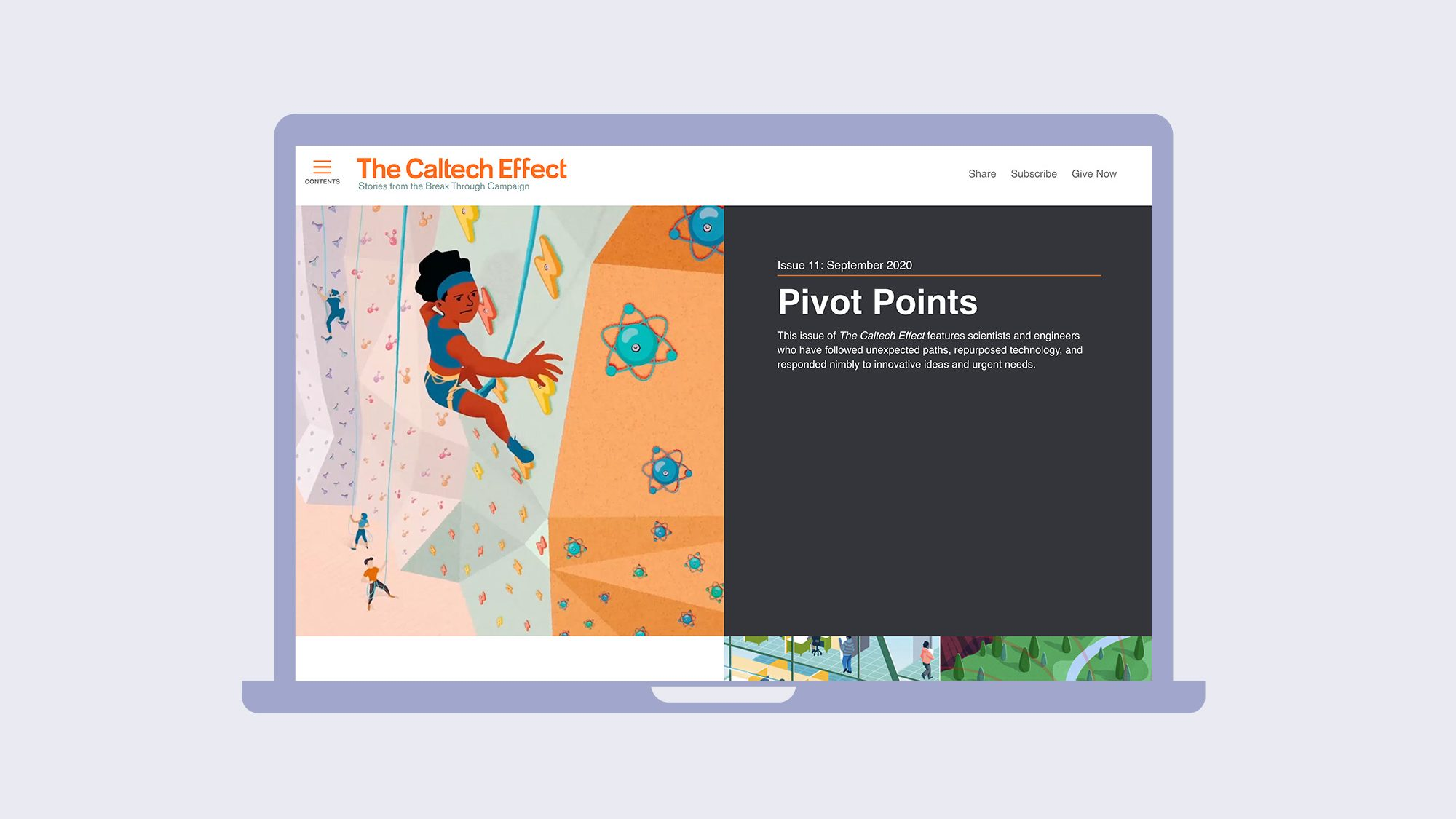 Website screenshot. Colorful illustration of someone wall climbing.