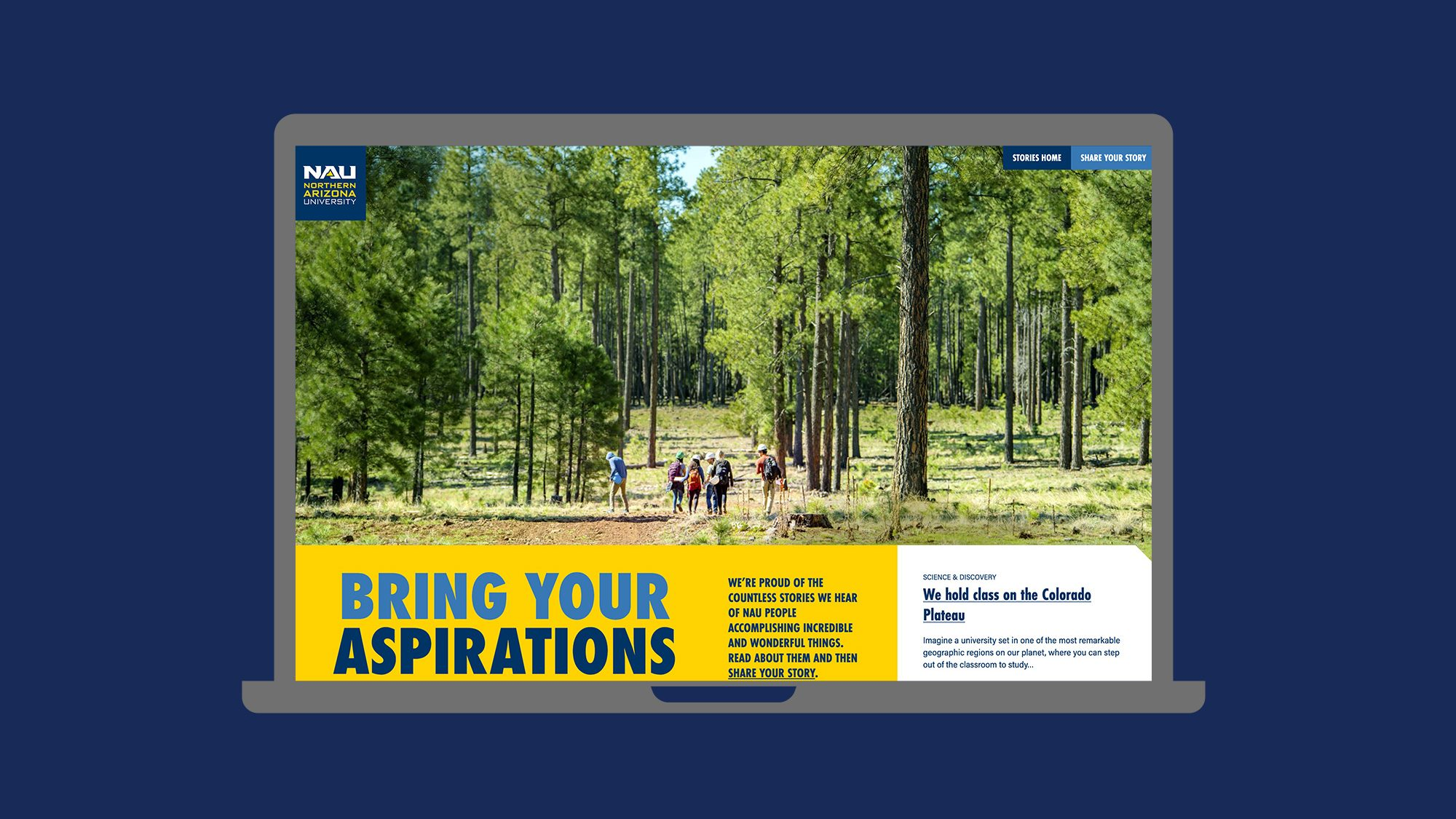Website screenshot, shows students in a forest. Text: Bring your aspirations.