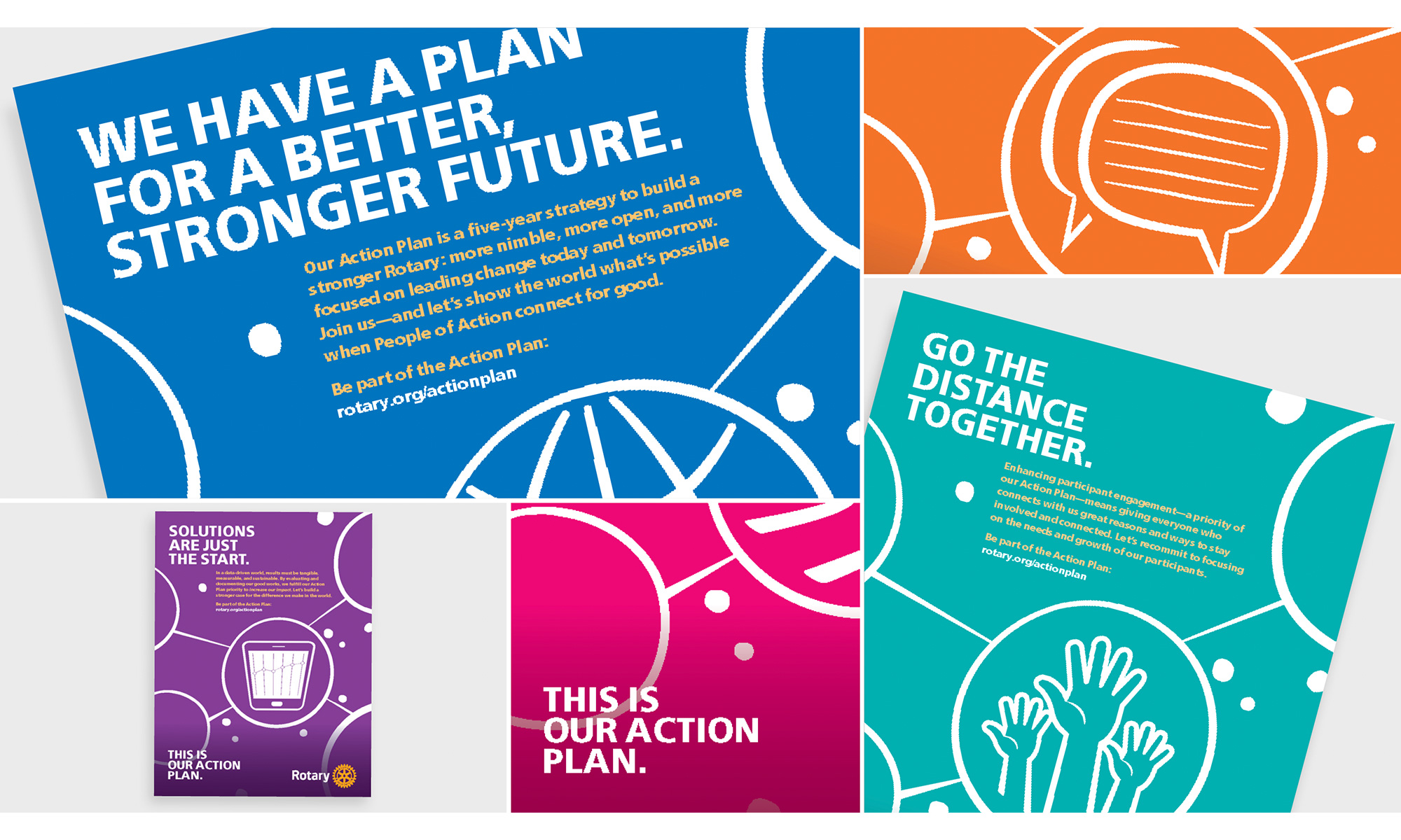 Brochure covers with line art. We have a plan for a better, stronger future.