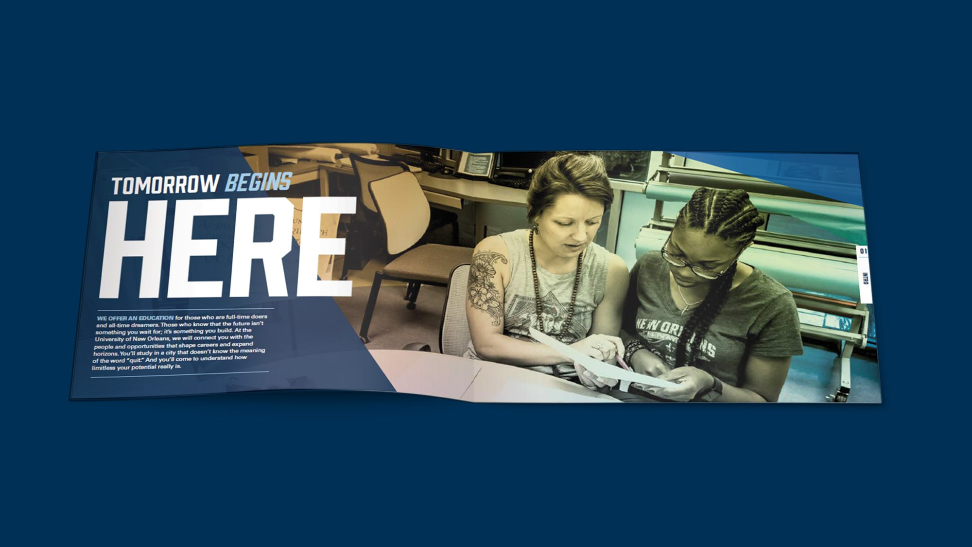 Brochure spread showing two women in a classroom. Text: Tomorrow begins here.