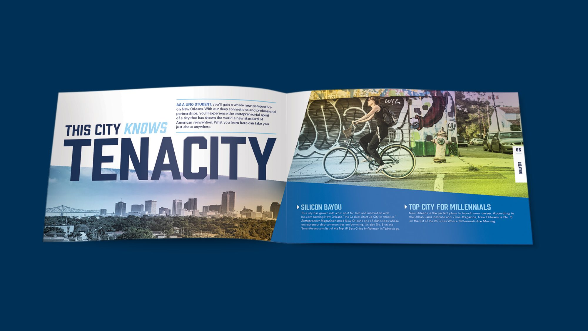 Brochure spread showing a cyclist riding in New Orleans. Text: This city knows tenacity.