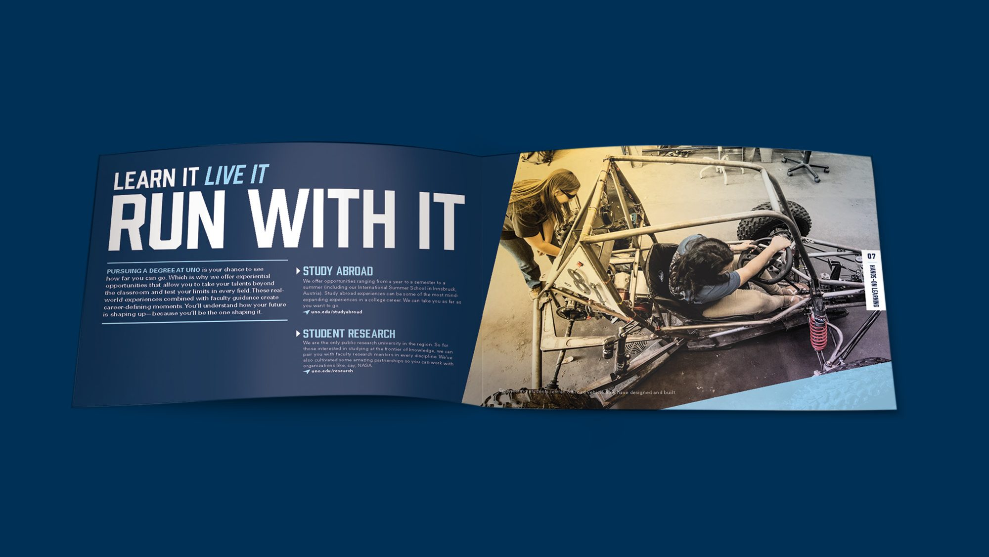 Brochure spread shows students building something. Text: Learn it, live it, run with it.