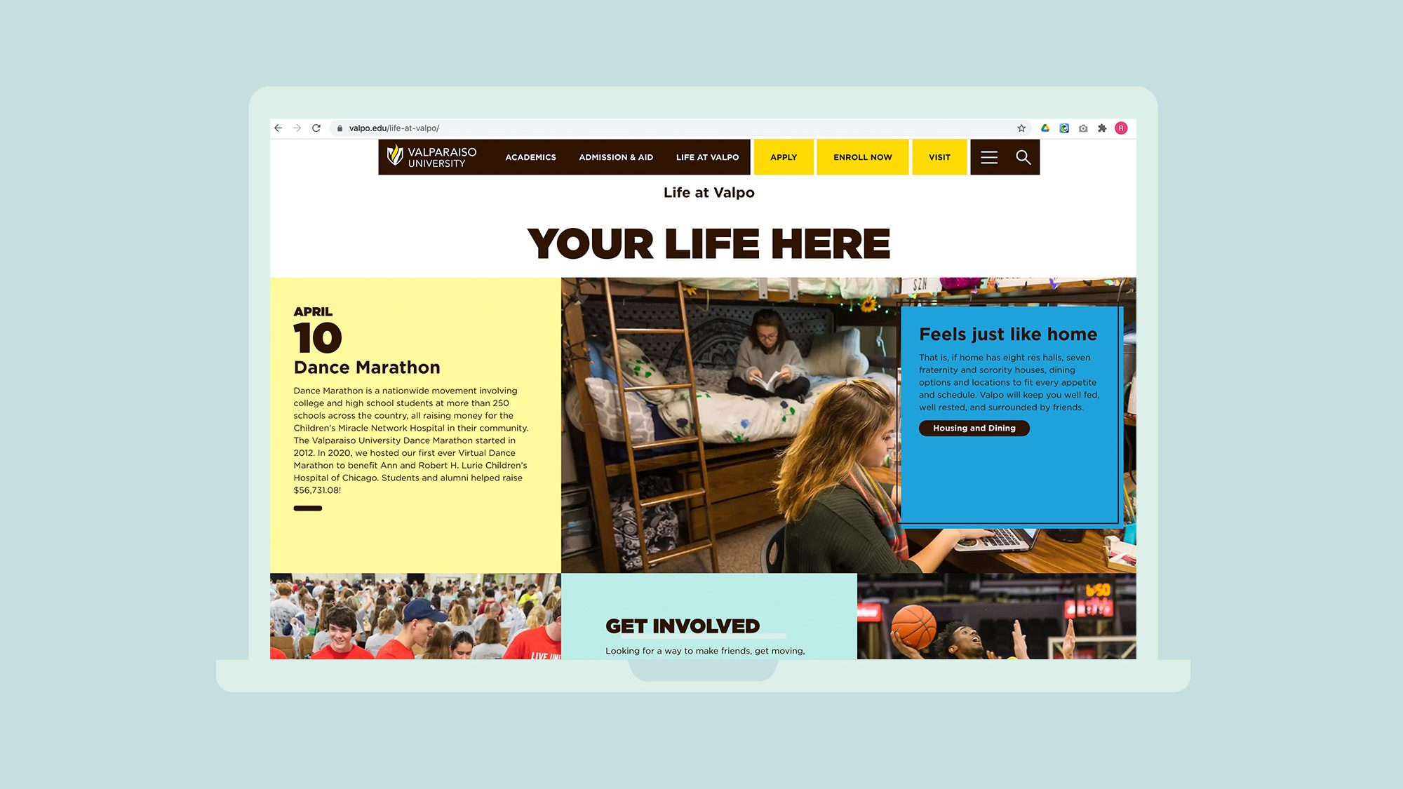 Website screenshot showing student life page.