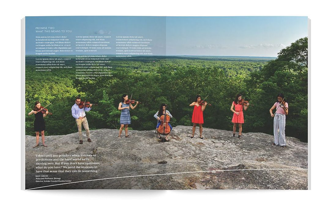 Brochure spread. Music students performing outdoors.