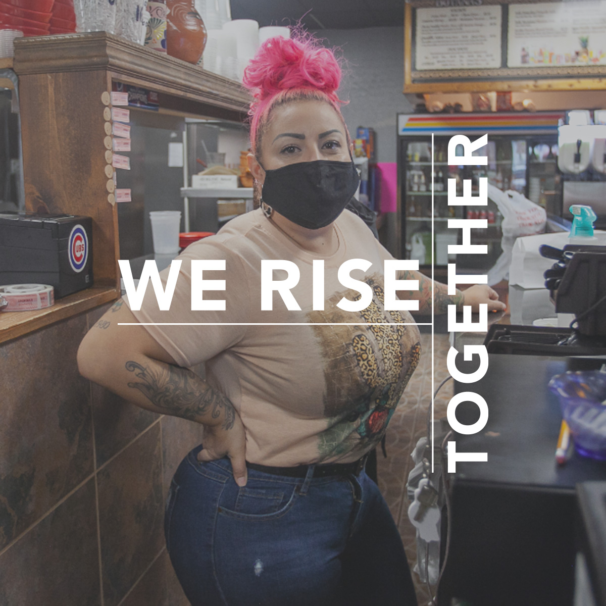 We rise together. Photo shows a woman with pink hair in a convenience store.