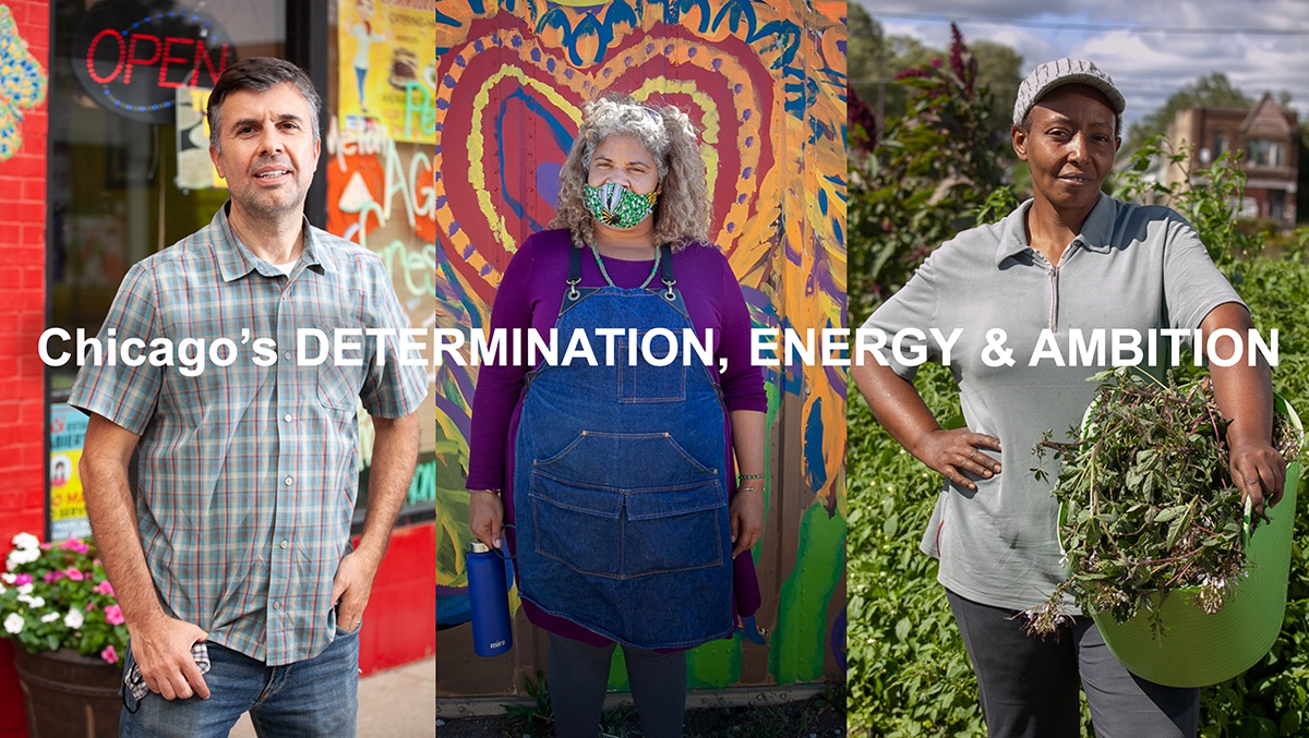Chicago's determination, energy and ambition. Photo of three volunteers.