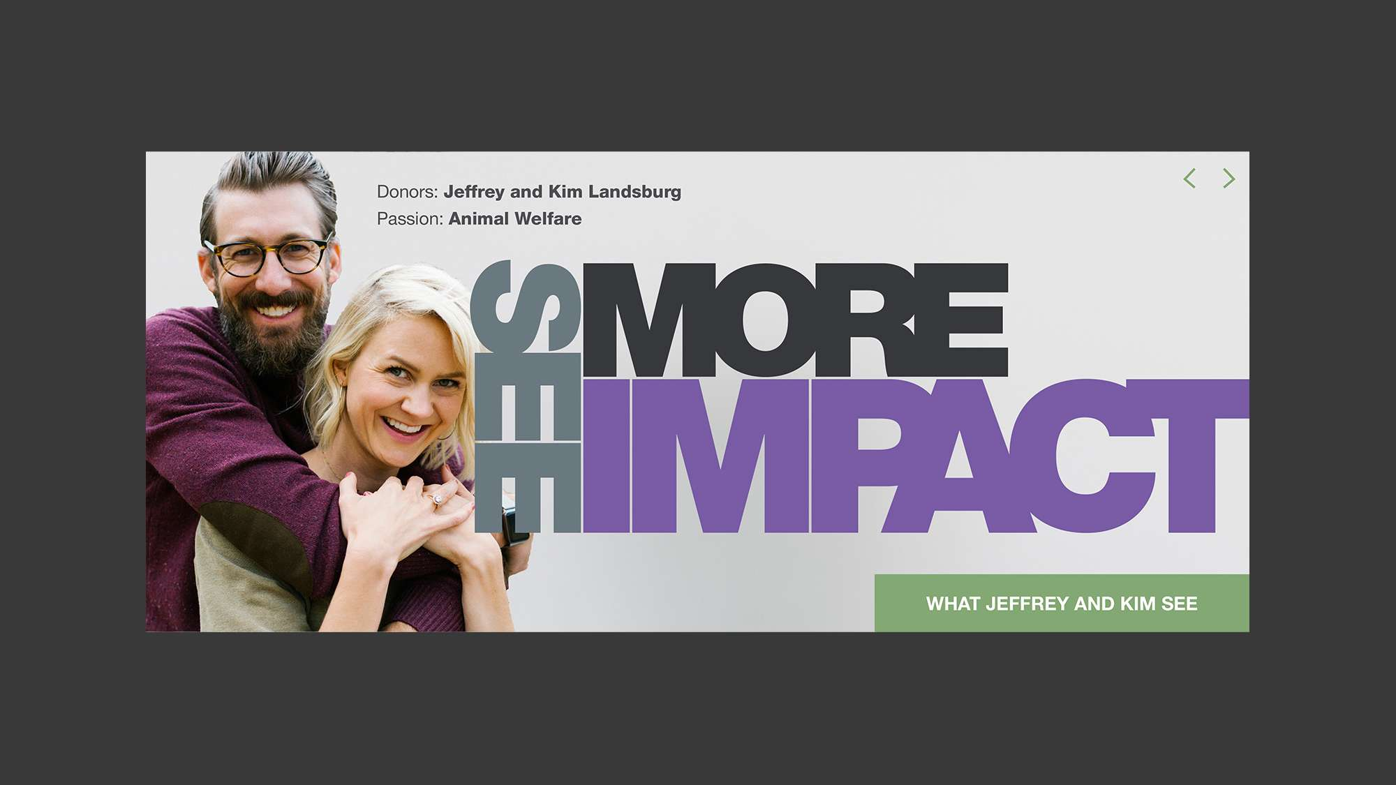 See more impact. Portrait of donors Jeffrey and Kim Landsburg.
