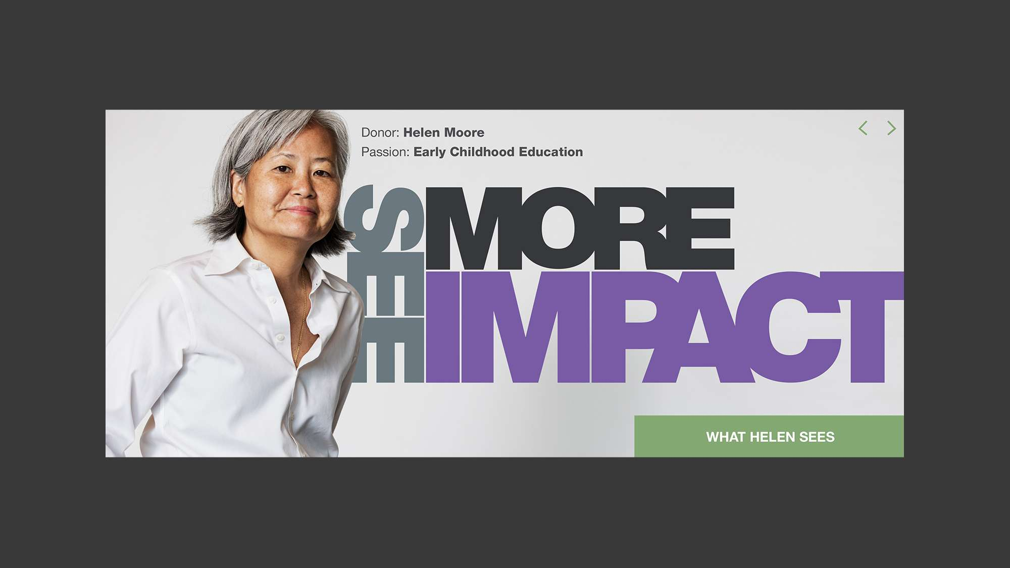See more impact. Portrait of donor, Helen Moore.