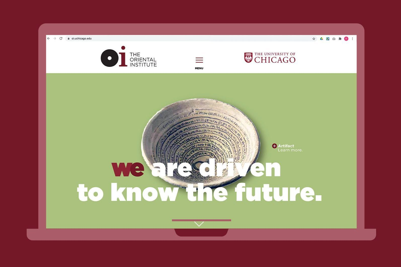 Website screenshot: shows an antique stone bowl with the text We are driven to know the future.